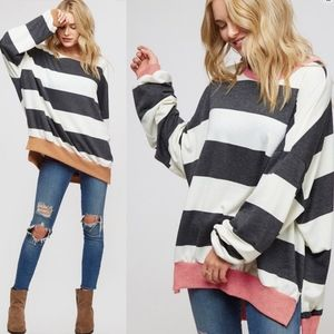 KYLIE Striped Long Sleeve Top - CAMEL